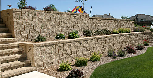 Home using Newcroft retaining wall